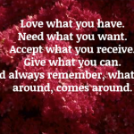 Love what you have